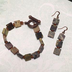 Jewelry - Stone Bracelet & Earrings